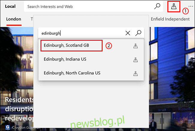 Na karcie Microsoft News Local kliknij ikonę Lokalizacja, a następnie wyszukaj lokalizację i kliknij ją