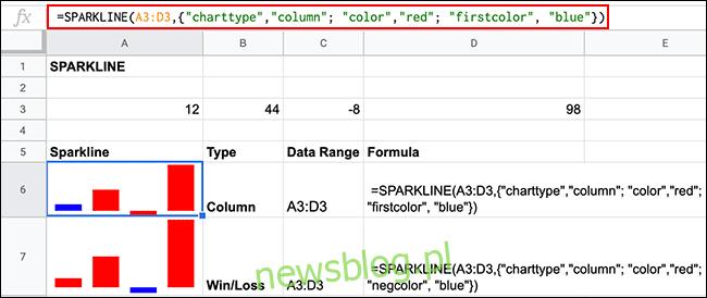 Różne opcje formatowania kolorów formuł SPARKLINE w Arkuszach Google