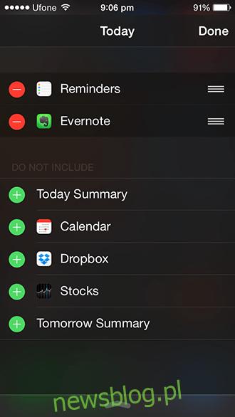 Widżet iOS 8 - Konfiguracja