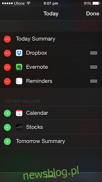 Widżet iOS 8 - oryginalna konfiguracja