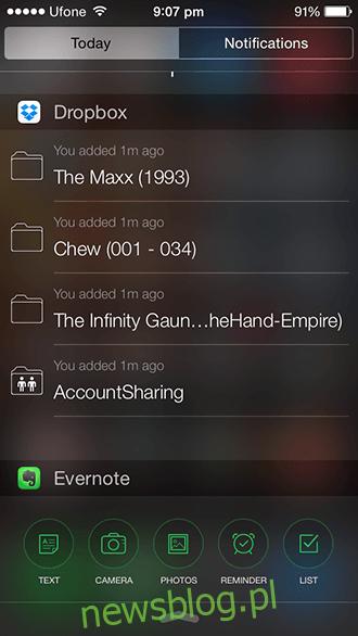 Widżet iOS 8 - Dropbox