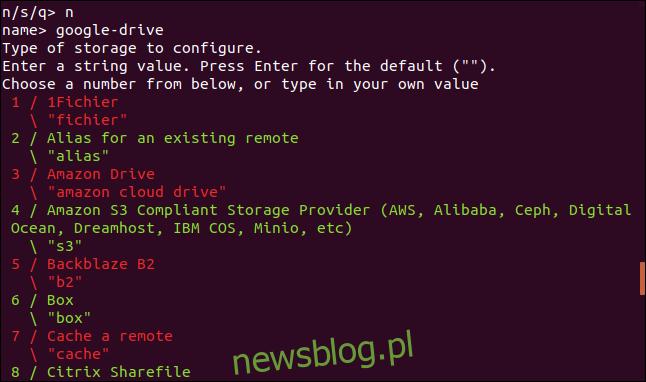 rclone menu typu połączenia zdalnego w oknie terminala