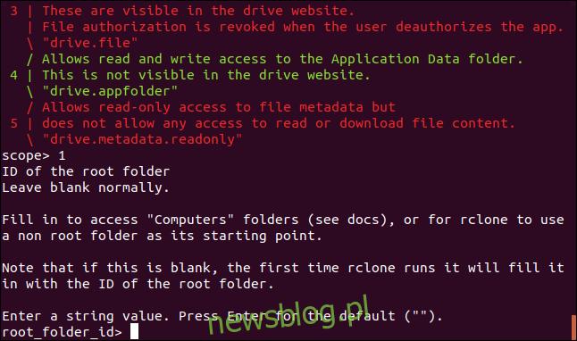 monit o podanie identyfikatora folderu głównego w oknie terminala