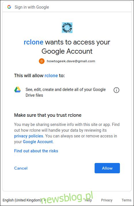 Zezwalanie rclone na współpracę z Dyskiem Google w oknie terminala