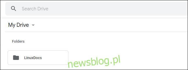 Folder LinuxDocs na Dysku Google