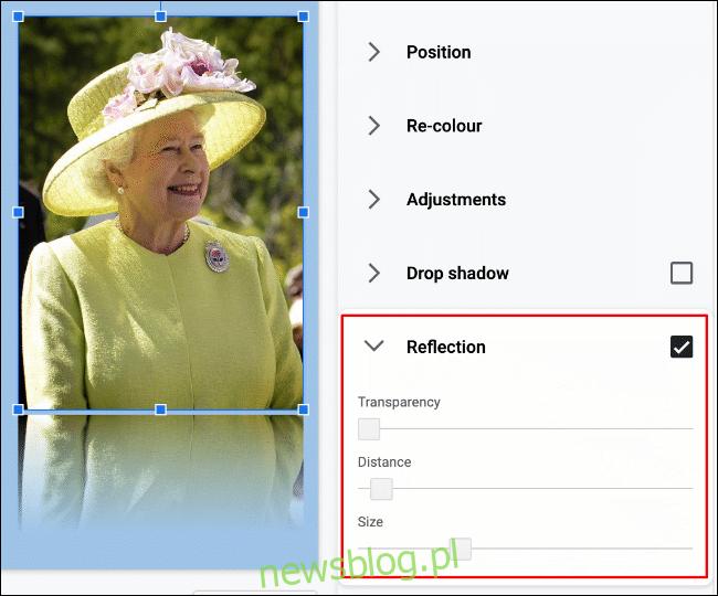 """Aby dodać odbicie do obrazu w Prezentacjach Google, kliknij Format> Opcje formatu> Odbicie """"width ="""" 650 ″ height = """"540 ″ onload ="""" pagespeed.lazyLoadImages.loadIfVisibleAndMaybeBeacon (this); """" onerror = """"this.onerror = null; pagespeed.lazyLoadImages.loadIfVisibleAndMaybeBeacon (this);""""> </p><p> Możesz dalej modyfikować efekt, korzystając z opcji zmiany przezroczystości, odległości i rozmiaru odbicia za pomocą dostępne suwaki. </p><p> Za pomocą myszy przesuń suwak każdej opcji w lewo lub w prawo, aby zmniejszyć lub zwiększyć efekt. </p><p> <img loading ="""