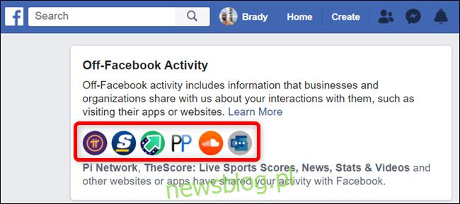 Kliknij listę ikon, aby zobaczyć pełną listę aplikacji i stron internetowych.