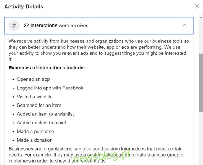 Kliknięcie szczegółu daje więcej informacji o działaniu tej funkcji. Aby zobaczyć szczegółowy opis, musisz pobrać swoje informacje.