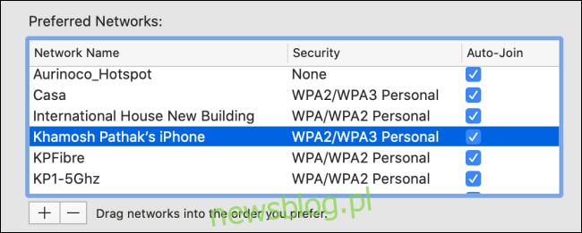 Wybierz sieć Wi-Fi z listy