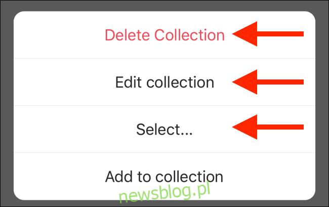 Wybierz opcję edycji kolekcji
