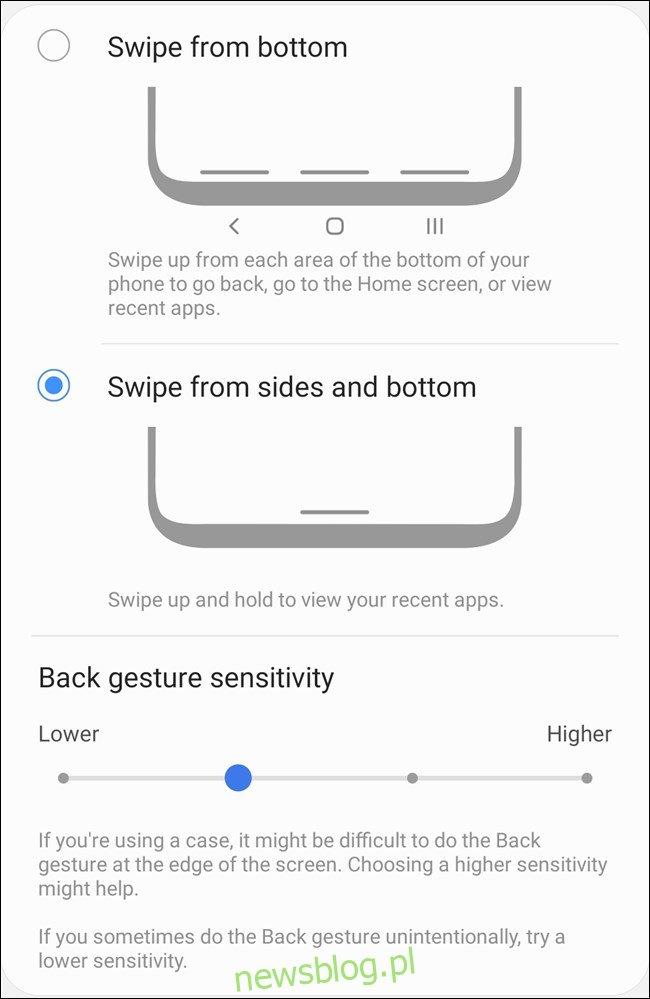 Samsung Galaxy S20 Wybierz typy gestów i ustawienia niestandardowe