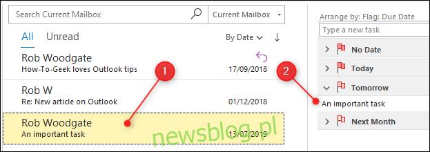 E-mail, który został oflagowany, jest teraz podświetlony na żółto i pojawia się na liście zadań.