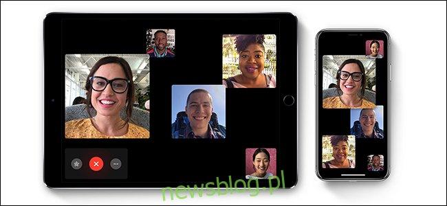 Pięć osób rozmawia przez FaceTime na iPadzie i iPhonie.