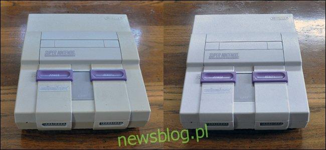 Pożółkłe Super Nintendo po lewej i ta sama jasna biel po wyczyszczeniu Retr0bright po prawej.