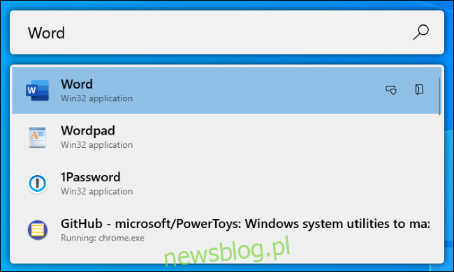 Program uruchamiający aplikacje PowerToys Run w systemie Windows 10.