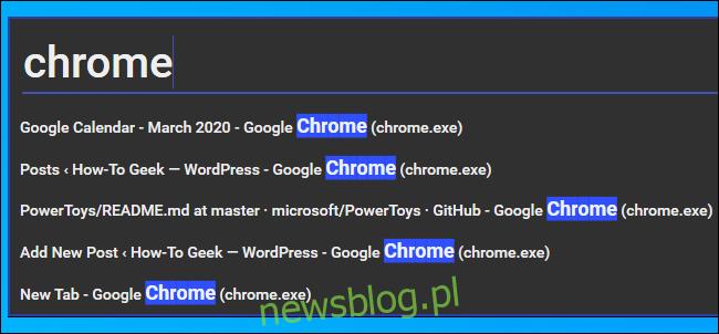 Wyszukiwanie okna przeglądarki Chrome w programie Window Walker PowerToy