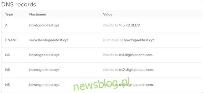 Siatka rekordów DNS z DigitalOcean.