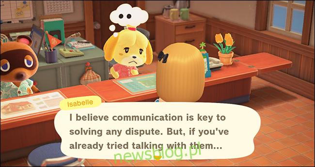 Animal Crossing New Horizons isabelle usuwa wieśniaka