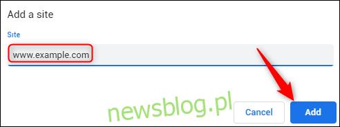Wpisz adres URL, aby zezwolić lub zablokować JavaScript