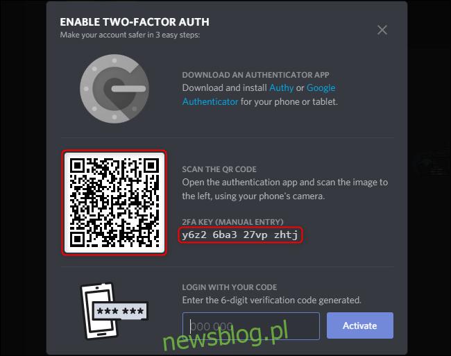 Discord Włącz kod 2FA