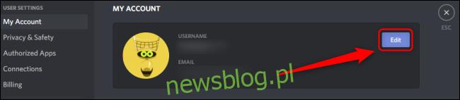 Discord Edytuj konto