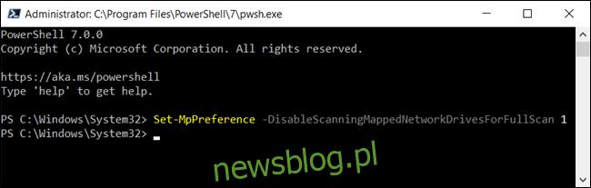Wyłączanie skanowania mapowanych dysków sieciowych dla usługi Defender w programie PowerShell