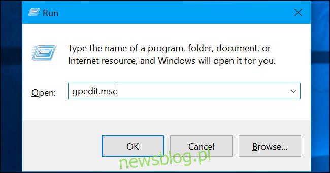 """Naciśnij Windows + R, wpisz """"gpedit.msc"""" w polu i naciśnij Enter."""