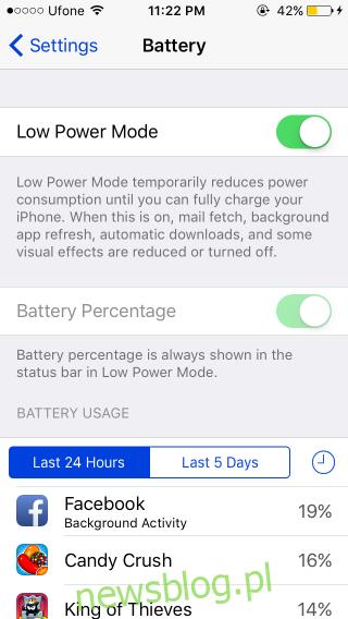 tryb niskiego poziomu baterii ios9