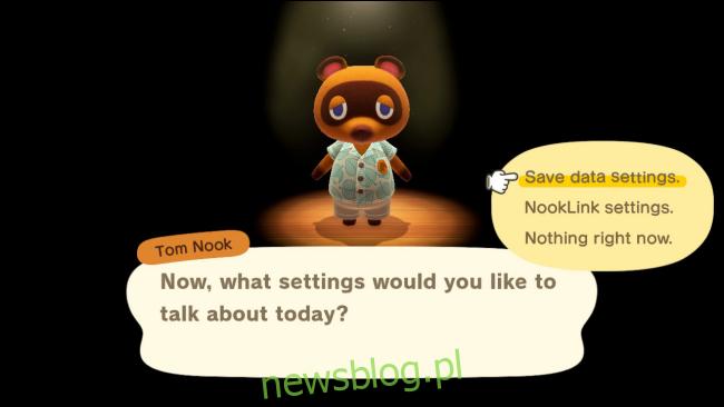 Menu opcji Toma Nooka w Animal Crossing: New Horizons
