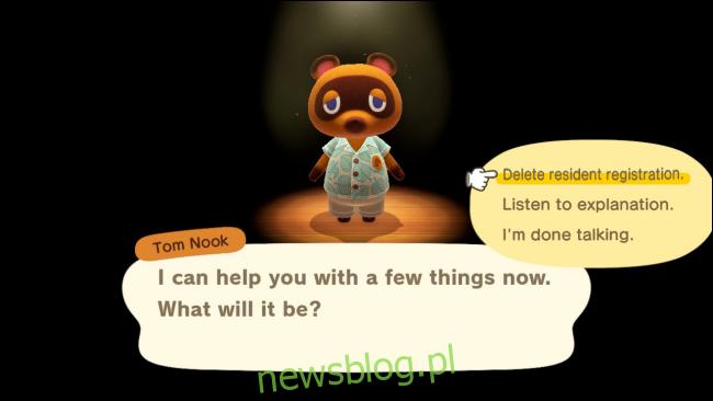 Usuń menu rejestracji mieszkańców w Animal Crossing: New Horizons