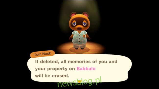 Tom Nook ostrzega przed usunięciem danych rejestracyjnych w Animal Crossing: New Horizons