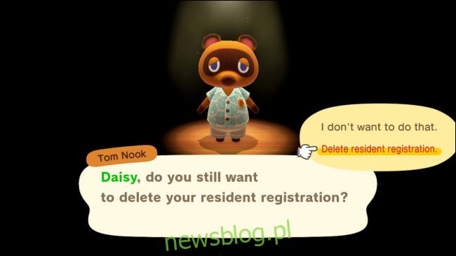 Usuń potwierdzenie danych rezydenta w Animal Crossing: New Horizons