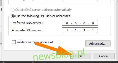 Wpisz adresy serwerów DNS, a następnie kliknij