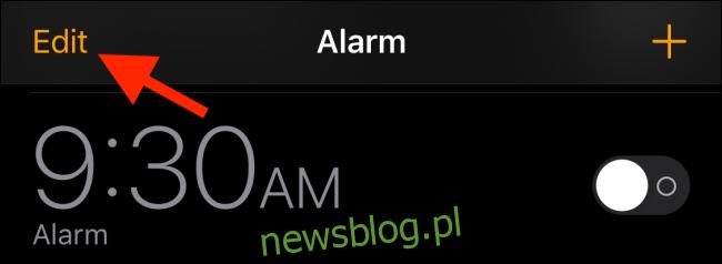 Stuknij w przycisk Edytuj w aplikacji Zegar