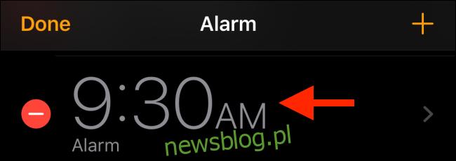 Wybierz alarm, który chcesz edytować