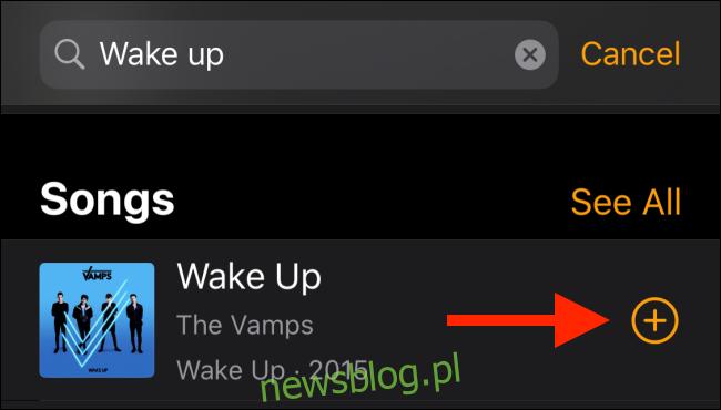 Stuknij w przycisk Plus, aby dodać piosenkę jako dźwięk alarmu