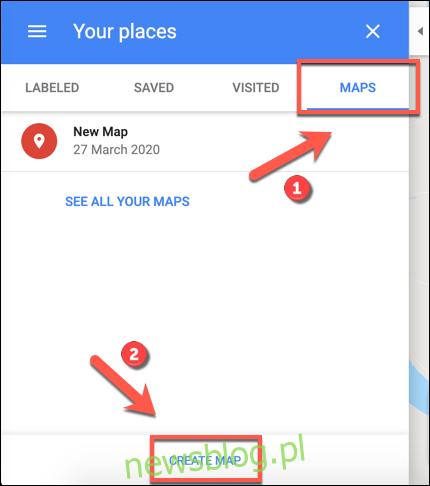 Kliknij Utwórz mapę, aby rozpocząć tworzenie niestandardowej mapy Google Maps