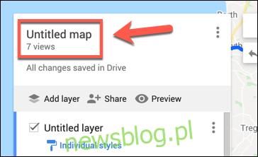 Kliknij Mapa bez nazwy, aby rozpocząć zmianę nazwy własnej mapy Map Google