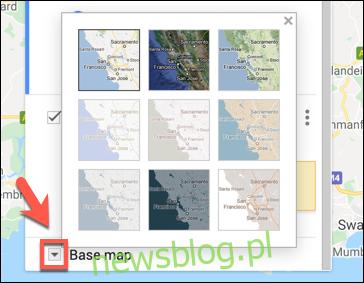 Wybór niestandardowego stylu podstawowej warstwy mapy w Mapach Google