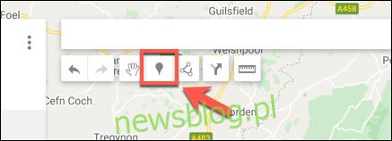Naciśnij Dodaj znacznik, aby dodać niestandardowy punkt znacznika w edytorze map Google Maps