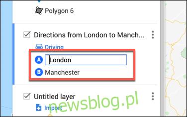 Wpisz lokalizacje odlotów i przylotów w warstwie niestandardowych wskazówek w edytorze map Google Maps