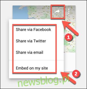 Opcje udostępniania społecznościowego dla niestandardowej mapy Google Maps