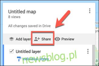 Naciśnij Udostępnij, aby udostępnić swoją niestandardową mapę Google Maps