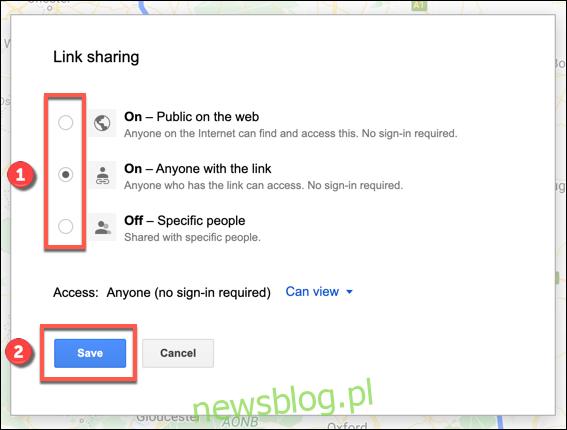 Opcje udostępniania linków do niestandardowej mapy Google Maps