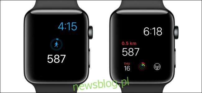Dwa zegarki Apple z liczbą kroków na tarczach zegarka.