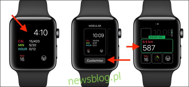 Trzy zegarki Apple z komplikacją Krokomierz ++ na twarzy.