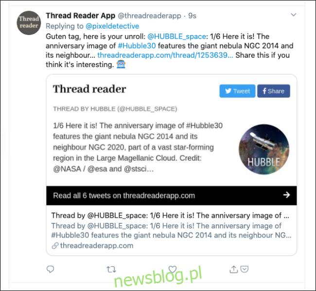 Odpowiedź aplikacji czytnika wątków