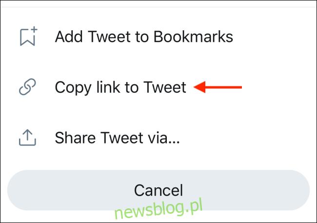 Wybierz opcję Kopiuj łącze do tweeta w menu udostępniania na Twitterze