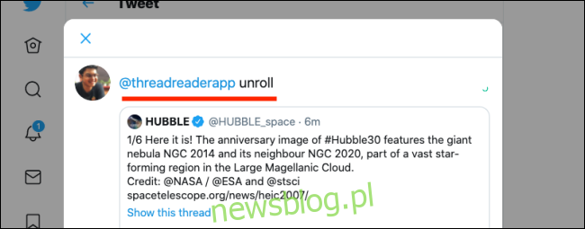 Prześlij dalej z komentarzem i dodaj aplikację Thread Reader