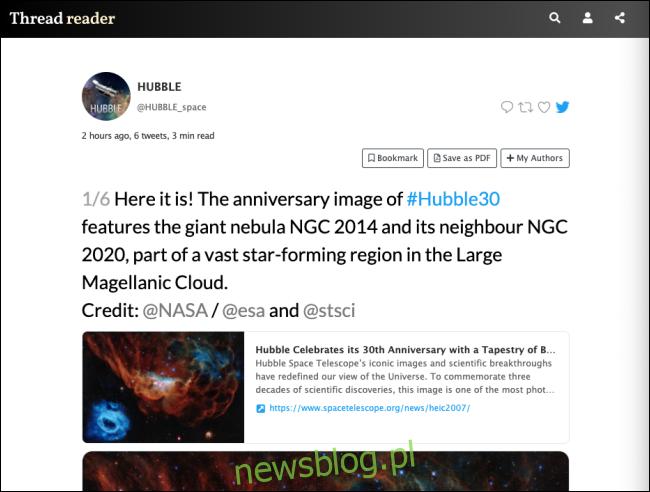 Aplikacja Thread Reader pokazująca wątek na Twitterze w celu łatwego przeglądania